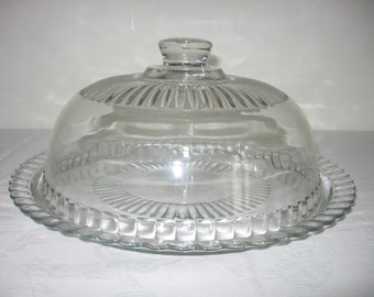 Beautiful Large Vintage French Glass Cheese / Cake Plate and Dome