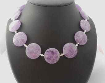 Round natural Amethyst necklace, 26 mm flat