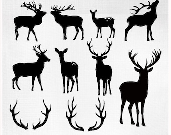 Deer Cliparts - Deer Silhouettes - Antlers Clipart - Deer Clip Art - vector EPS PNG and PS Brushes Christmas deer clipart deer digital