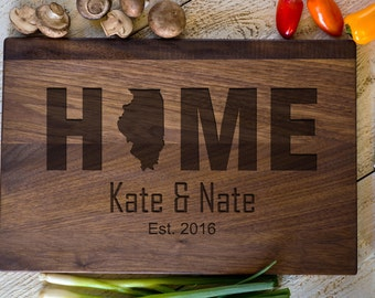 Custom Engraved Cutting Board, Personalized Cutting Board, Illinois, Home, Wedding Gift, Anniversary Bridal Shower Gift, Kitchen Decor #3155