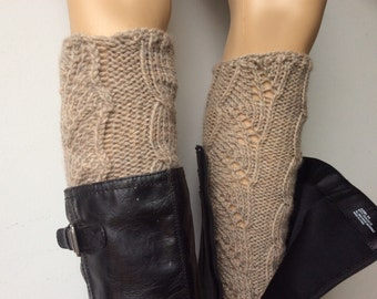 Handmade, Wool Blend, Leg warmers, boot womens leg warmers, KnittedLegwarmers, Natural Mix Color