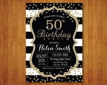 50th Birthday Invitation for women. Surprise 50th Birthday. Black and Gold Glitter. Black Stripes. Confetti. Any age. Printable Digital.