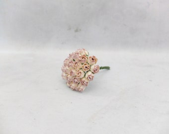 25 8mm cream lilac mulberry rose buds - paper flowers