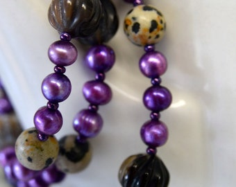 Black Agate and Dalmatian Jasper Necklace with Bright Plum Purple Pearls Handmade in Maine from North Atlantic Art Studio in Maine