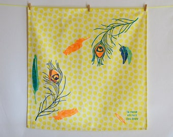 Hand printed Tea towel / / feathers / / blue and yellow