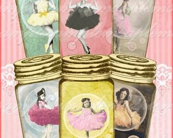 Ballerina Printable, Digital Tags, Mason Jar Tags, Junk Journal Tags, Printable Ephemera, collage sheet Instant Download, ballet dancers