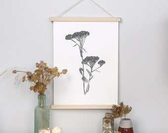 Wild Yarrow black and white limited edition a3 giclée fine art print on archival paper