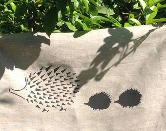 Black Hedgehog (and Babies) Screen Printed on a Natural European Linen - Fabric Panel 40 x 60 cm, Australian Made