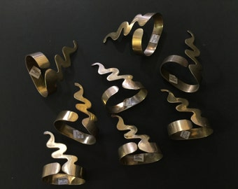 Set of Eight Vintage Brass Napkin Rings Holders