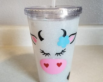 Cow - Glitter dipped plastic 16 ounce tumbler