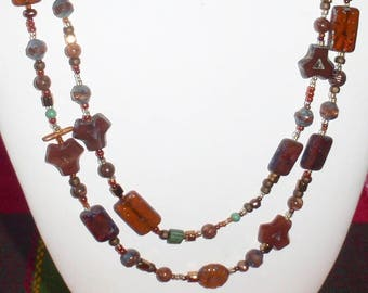Shades of Brown Czech Glass Bead Soup Multistrand Necklace
