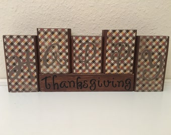 Thanksgiving and Christmas reversible wooden blocks