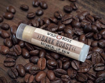 Coffee Lip Balm DARK ROAST Natural with Organic Coffee - .15 oz stocking stuffer