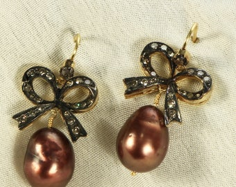 Antique style Victorian Handmade Women Oxidized Hook Earrings 14ktGold .925SterlingSilver with Brown Pearl and Pave Diamond