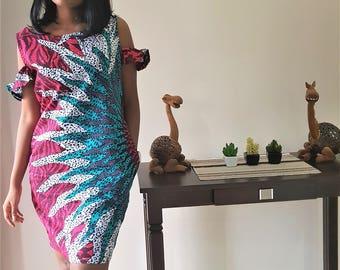 Ankara Drop Sleeve Dress