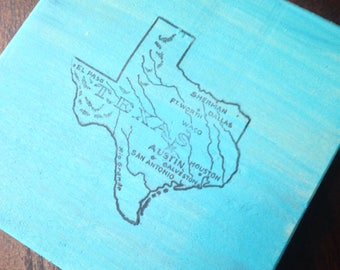 Rustic Texas Wood Coasters Set of Four in Turquoise Made to Order