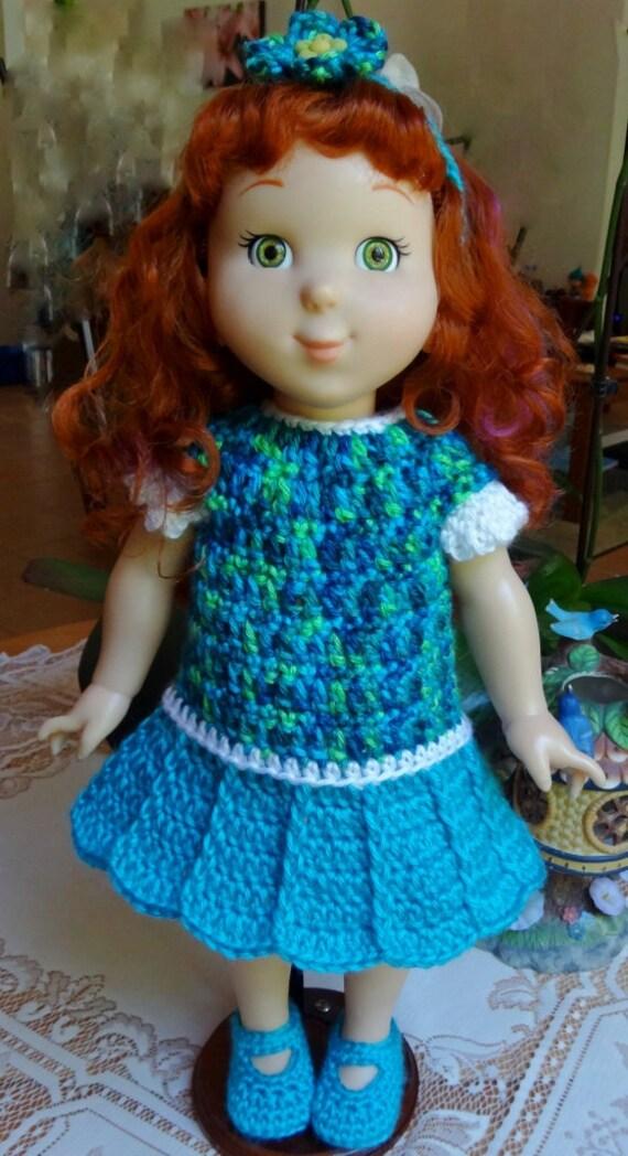 Crochet Outfit 18 Inch Fancy Nancy Headband Dress Maryjane