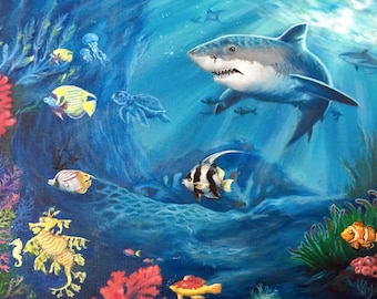 "Marine Life Art, Original Oil Painting on Canvas, 18x""24"