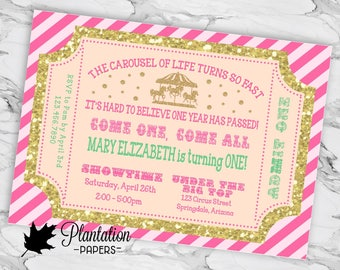 Carousel Circus Girl First Birthday Party Invitation Pink Gold Glitter Teal