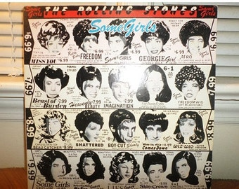 Vintage 1978 LP Record The Rolling Stones Some Girls 1st Issue With Diecut Cover Celebrity Faces Excellent Condition 12893
