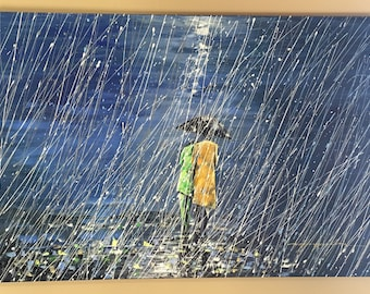 Seattle Rain, walking in rain, couple walking in rain, rain painting, abstract rain