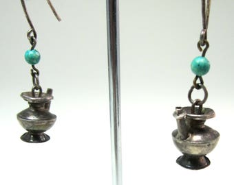 Vintge sterling small teapot and turquoise bead earrings