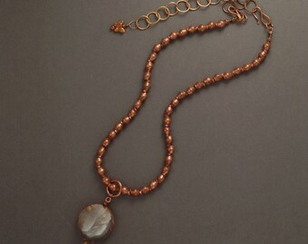 """Necklace Copper Beaded Chain with Blue Agate Pendant 18"""" to 24"""" Handcrafted One-of a Kind!"""