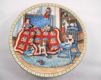 Knowles Hide and Seek Collector's Plate Cozy Country Corners Series by Hannah Hollister Ingmire 1991 Cute Puppies
