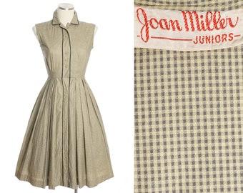 1950s full skirt sundress • yellow & gray cotton gingham dress