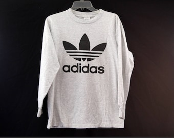 Vintage Adidas tshirt trefoil heather gray 80s 90s made in usa