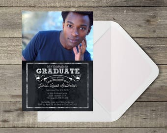 Chalk Banner Graduation Party invitation Template or Announcement