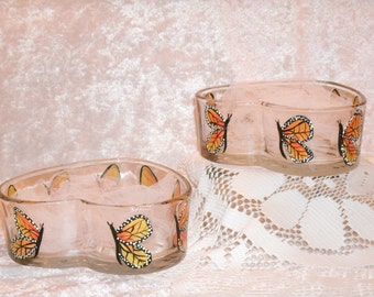 MONARCH BUTTERFLY candy dishes, heart shaped, set of two
