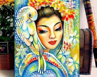 Geisha Japanese Bird Parrot Girl Woman Painting, home decor wall decor woman art, ACEO wood block, CF
