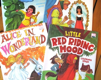 1970s PLAYMORE Coloring Books/Snow White/Alice in Wonderland/Little Red Riding Hood/Jack and the Beanstalk NOS