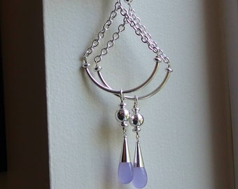 purple chalcedony earrings lavender sterling silver lilac pendant long extra large modern dangle drop smooth AAA gemstone duster shoulder