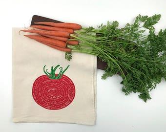 Varieties of Tomatoes Flour Sack Towel - Deluxe Natural Tea Towel - Hand Screen Printed - Perfect for the foodie