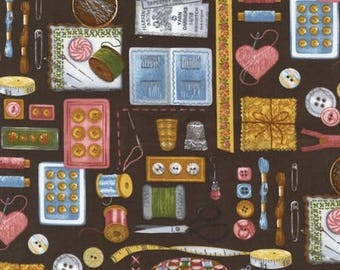 Cotton Fabric Quilting Vintage Sewing Room *