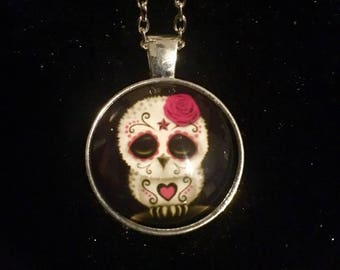 Day Of The Dead Glass Pendant Necklaces