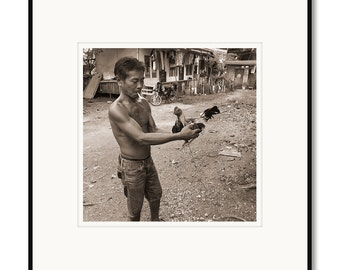 Black and white photography, sepia prints, Philippines, Cebu, Marlboro Man, fighting cock, rooster, rural farmer, tropical island life