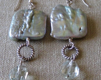 Large Square Pale Green Freshwater Pearl and Green Amethyst Dangle Earrings