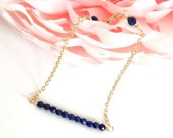 Dainty Lapis Lazuli Chain Bracelet