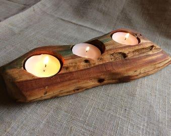 Rustic Aged Wood Tea Light Holder, Rustic Tea Light Holder, Unique Rustic Log Candle Holder, Plum Wood Tea Light Holder, Log Candle Holder