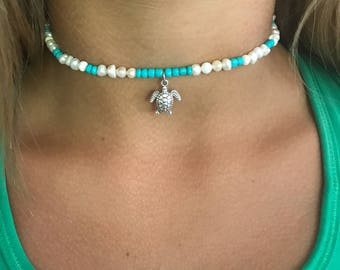 Pearls and teal beaded choker with sea turtle charm