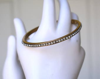 Napier Rhinestone Gold Tone Bangle Vintage