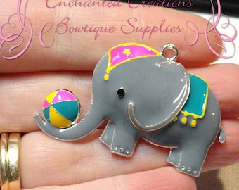"2"" Adorable Enamel Circus Elephant With Beach Ball"