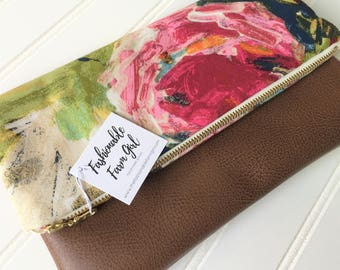 Floral foldover clutch - vegan leather foldover bag - bridesmaid gift - floral bridesmaid clutch-fold over clutch-vegan leather clutch bag-
