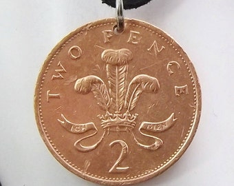England Coin Necklace, 2 Pence, Coin Pendant, Leather Cord, Men's Necklace, Women's Necklace, 1991