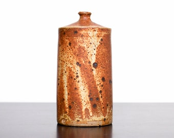 Vintage Studio Pottery Tall Cylindrical Weed Vase | Stamped