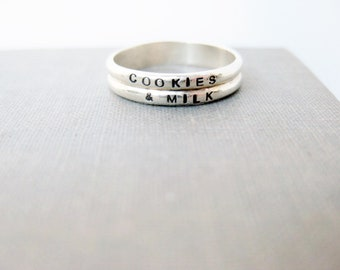 Double Band Personalized Ring - Solid Sterling, We Go Together Like..., Best Friends Ring, Love Ring, Promise Ring, Engagement Ring