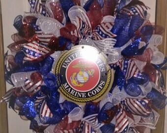 Choice of 1 Military, Firemans, or Sport Handmade Wreath, Handmade New/ Army/ Navy/ Marine/ Air Force or Coast Guard